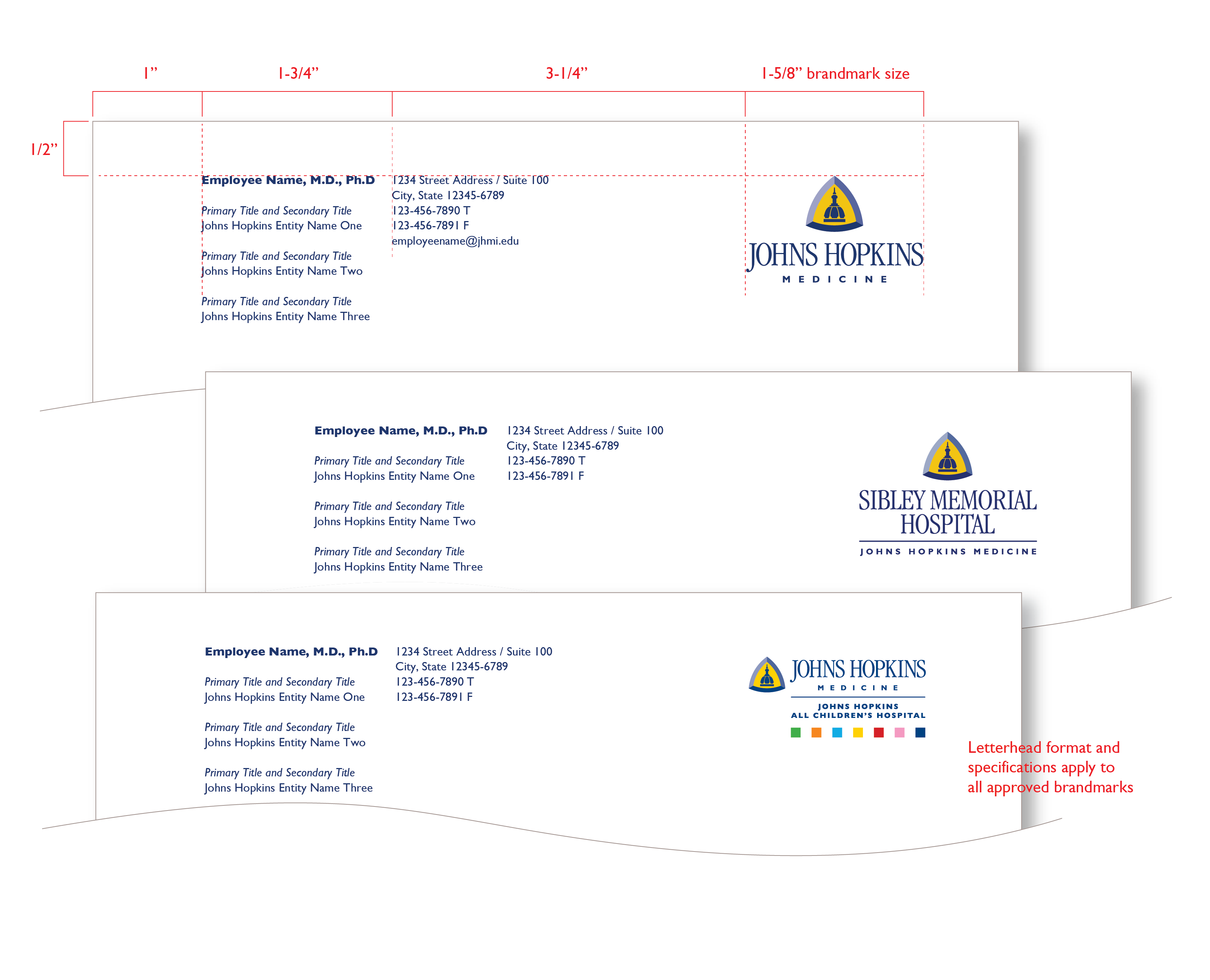 image of johns hopkins medicine personalized letterhead multiple entities